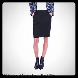 High Wasted Pleated Pocket Pencil Skirt size 8